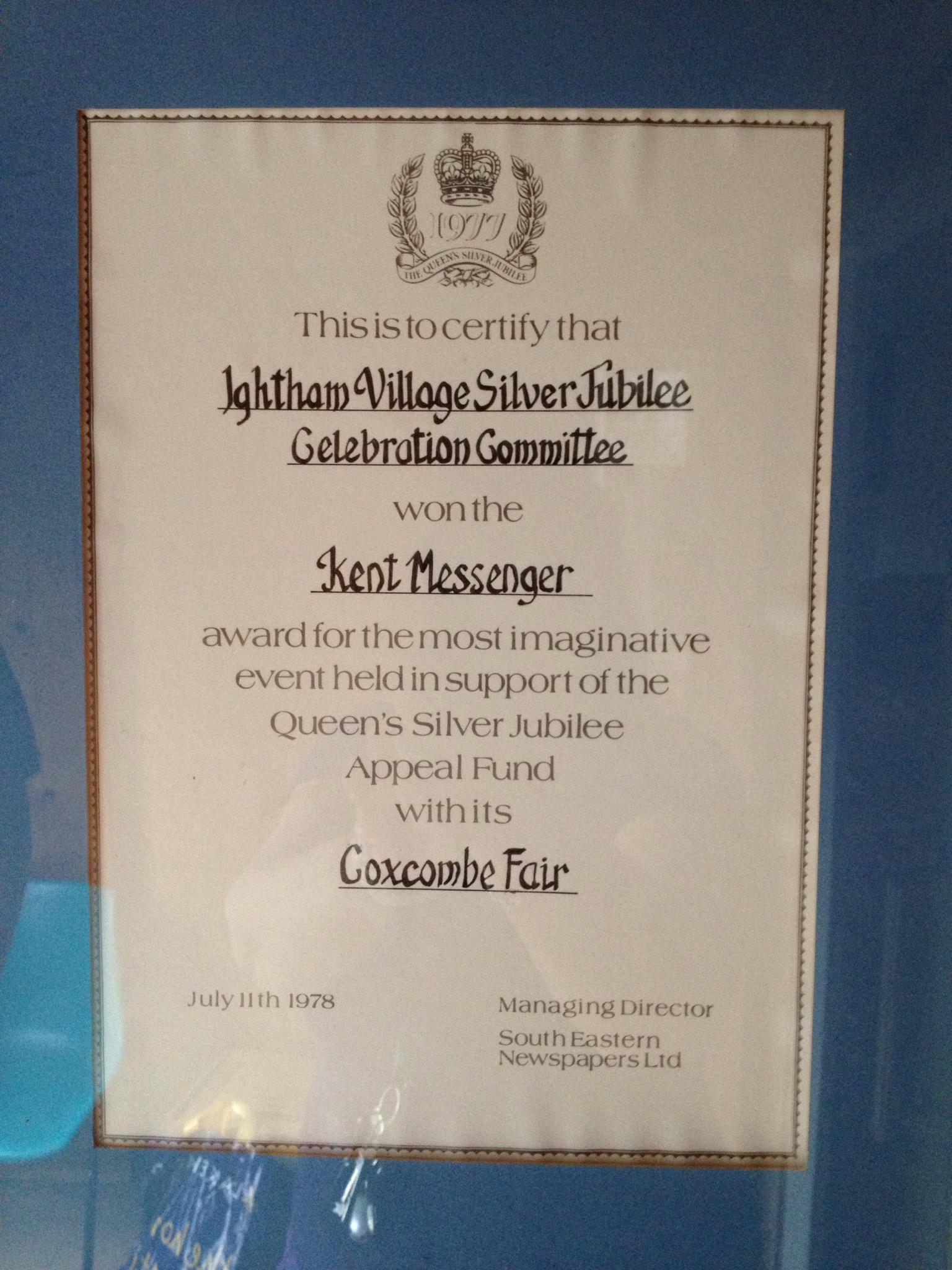 Ightham Village Silver Jubilee Coxcombe Fair Kent Messenger award certificate in a frame