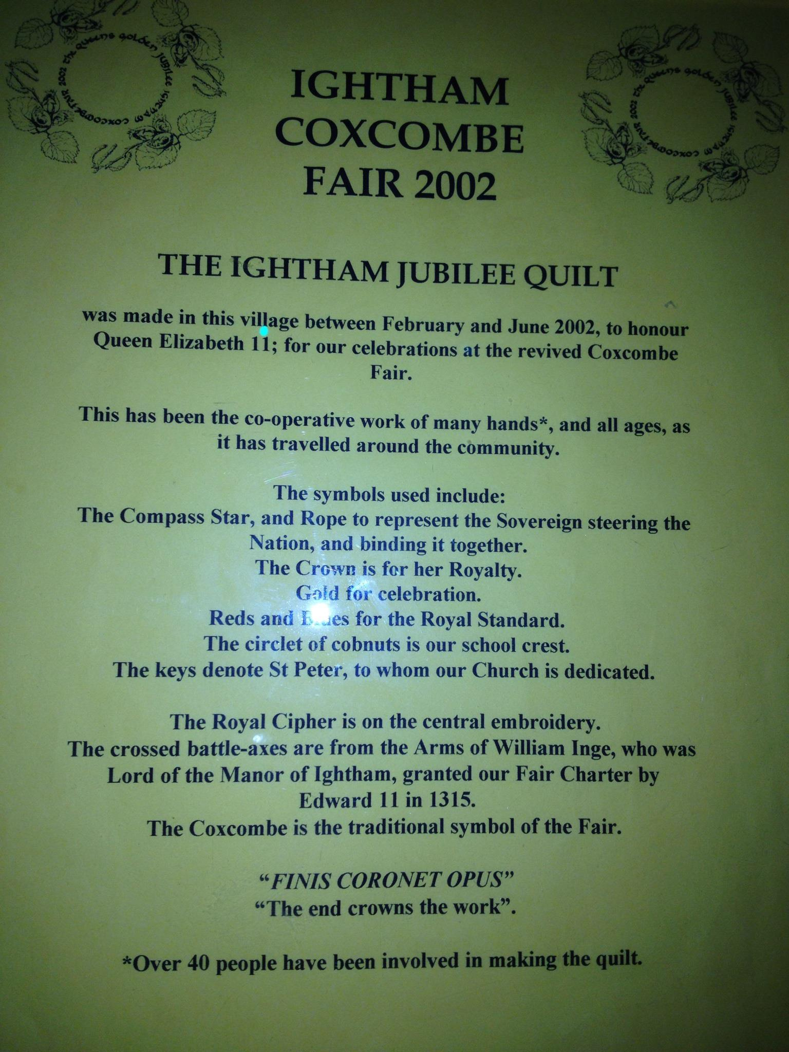Ightham Coxcombe Fair 2002 Jubilee Quilt sign with descriptive writing - transcript available on request