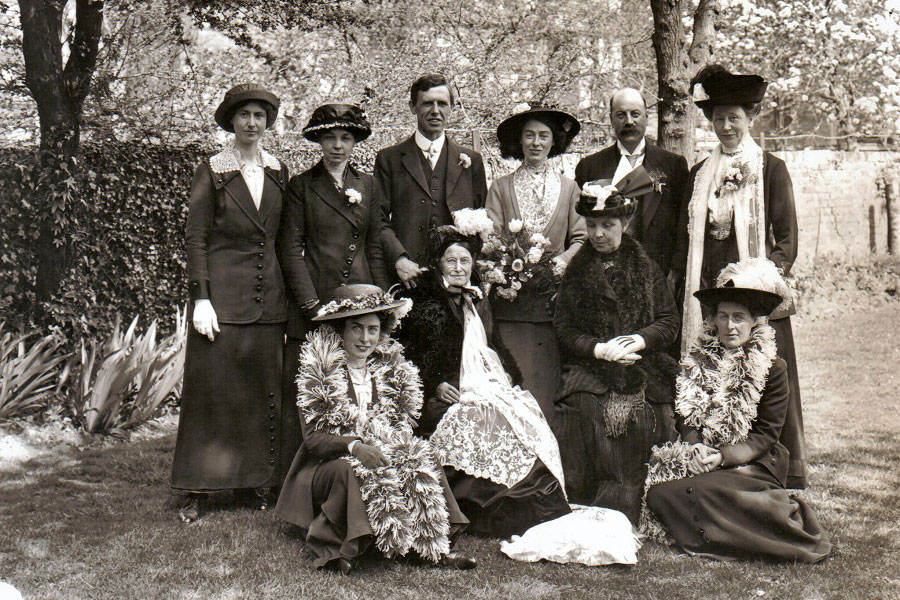 Black and white historical image of a group of people
