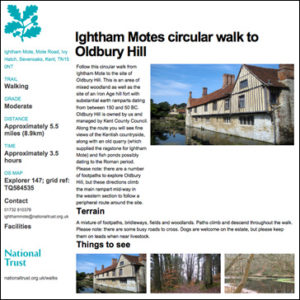 Ightham Motes circular walk to Oldbury Hill