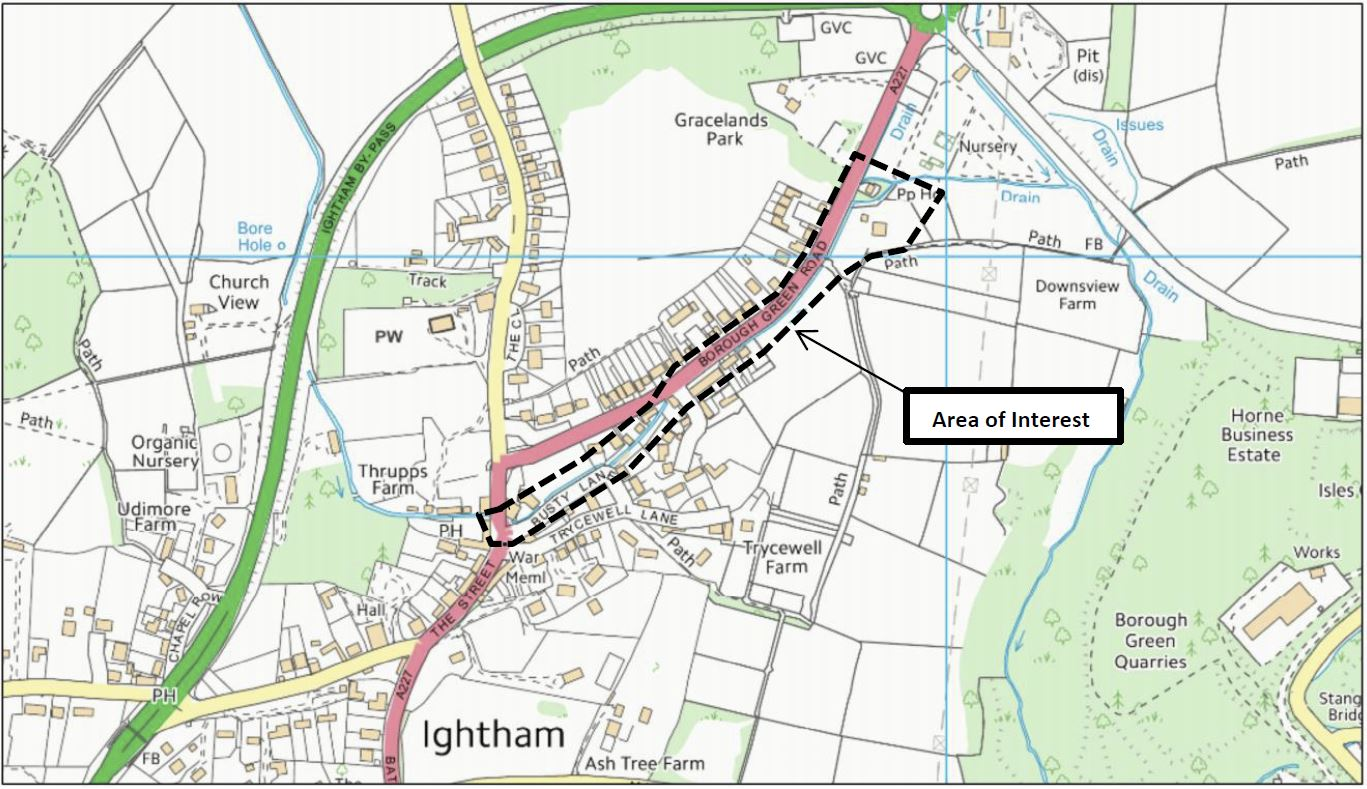 Ightham flooding risk area map