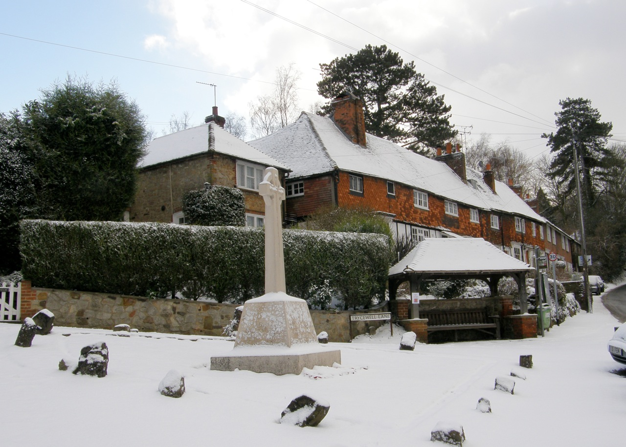 Ightham War Memorial in the snow