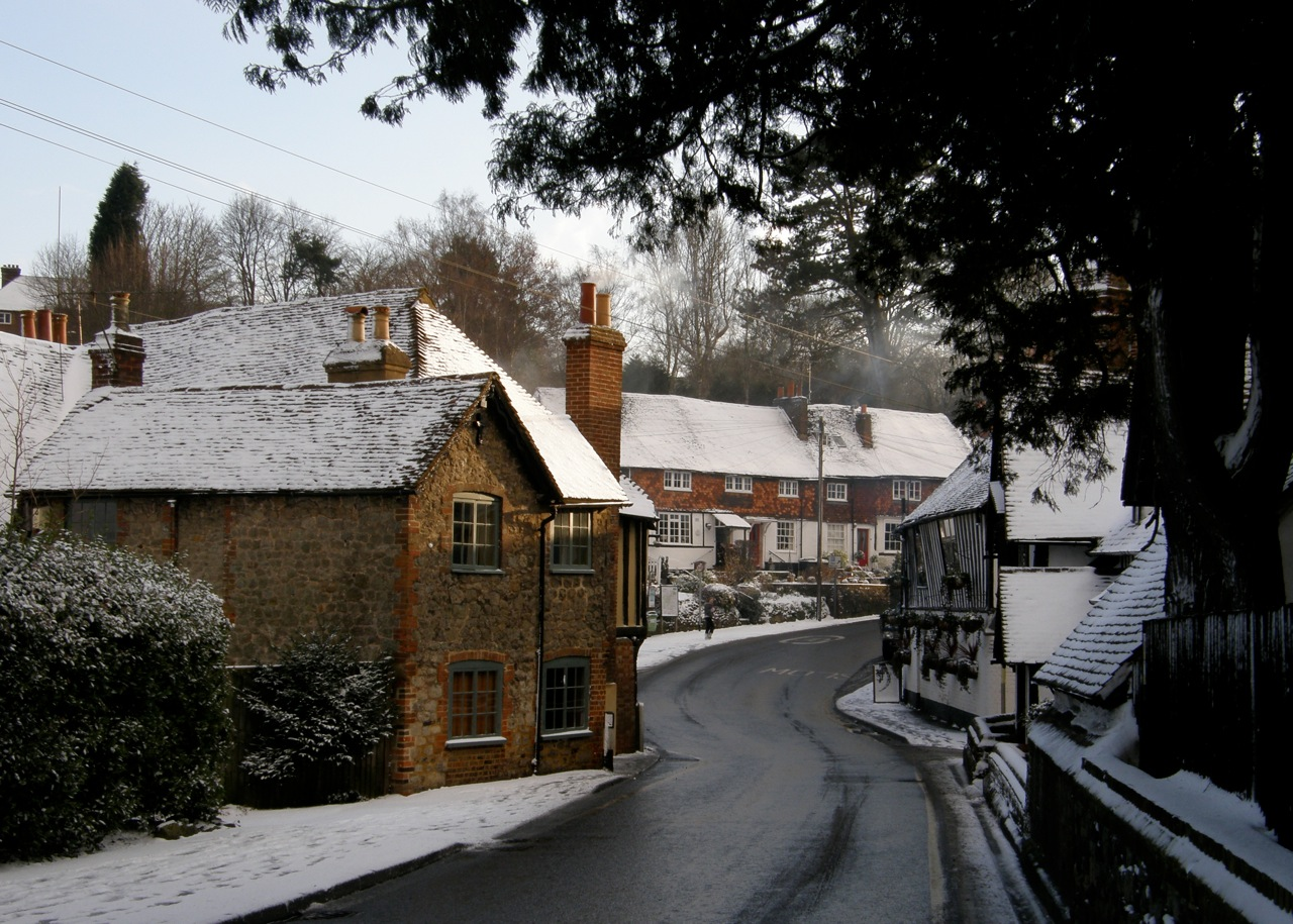 Ightham village centre on a snowy day