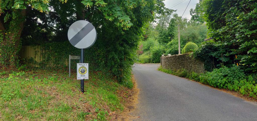 National speed limit sign at entrance to Oldbury Lane