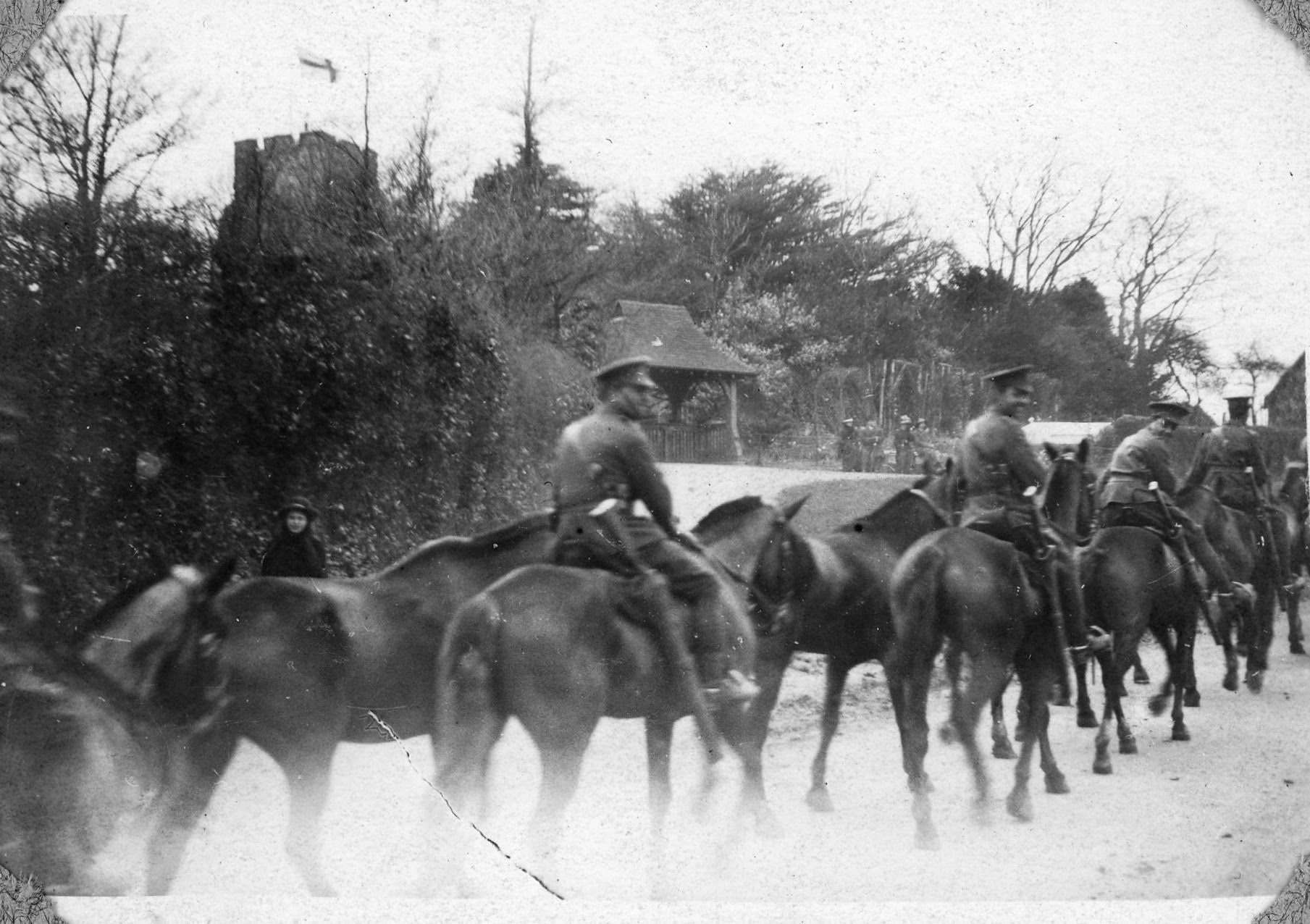 Ightham village historical picture of soldiers on horseback