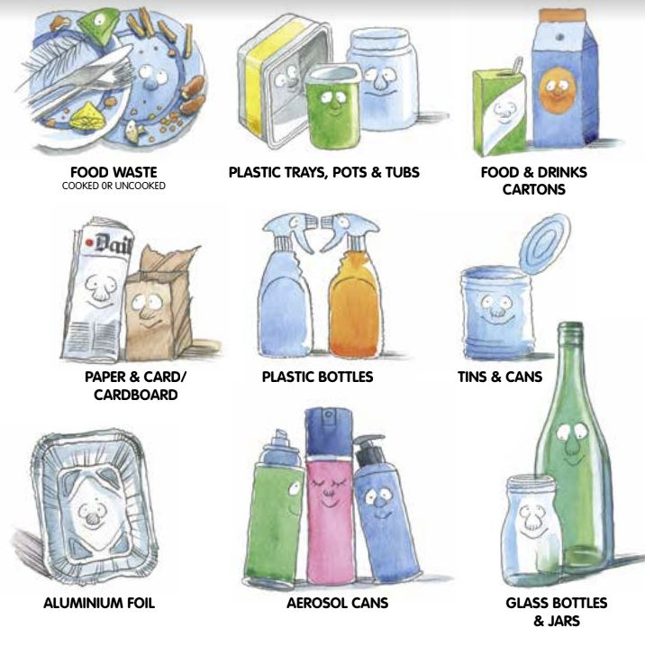 Cartoon image of food waste, plastic trays, pots and tubs, food and drinks cartons, paper and card/cardboard, plastic bottles, tins and cans, aluminium foil, aerosol cans and glass bottles and jars
