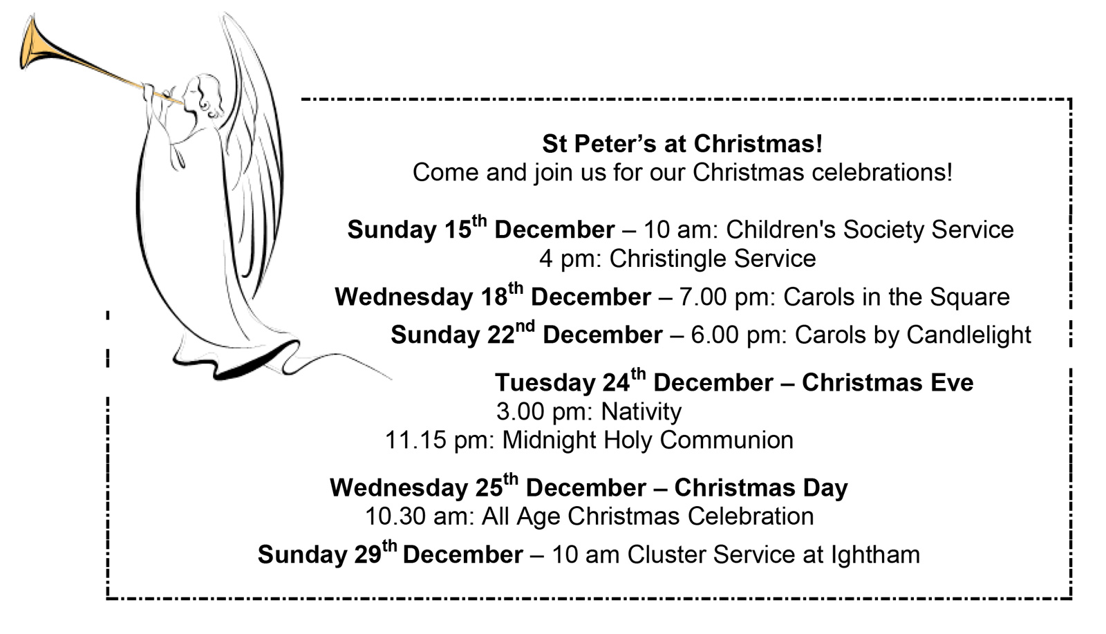Christmas services at St Peter's Church, Ightham - full timetable in the text on this page