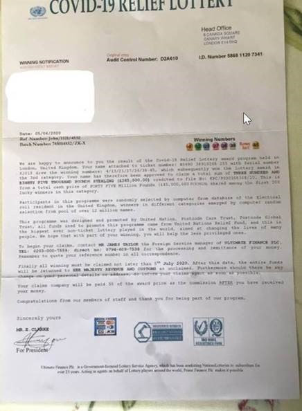 Lottery scam letter photo