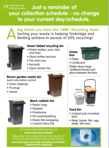 a leaflet depicting different types of waste and recycling bins. Specific information bin types available on TMBC website www.recycleforall.tmbc.gov.uk