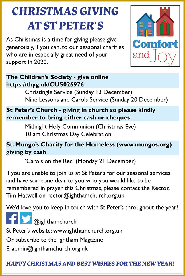 Christmas Giving at St Peters leaflet - text follows below
