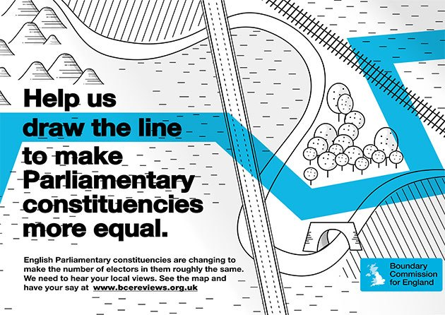 Help us draw the line to make Parliamentary constituencies more equal. English Parliamentary constituencies are changing to make the number of electors in them roughly the same. We need to hear your local views. See the map and have your say at www.bcereviews.org.uk